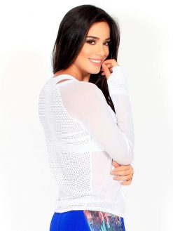 White Mesh Long Sleeve