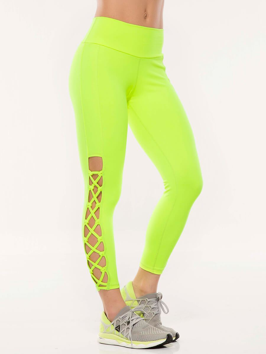 2b74e6820b7ea Neon Green Mid Waisted Leggings | Leggings Online Shop Dubai ...